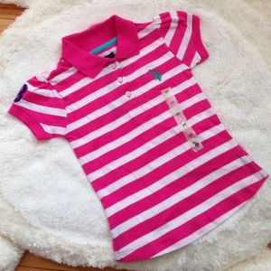 Other - U.S. Polo Assn. Pink & White Striped Polo Shirt